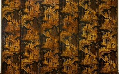 Six-leaf screen covered with wallpaper varnished in imitation lacquer, Manufacture Jules Desfossé, circa 1855