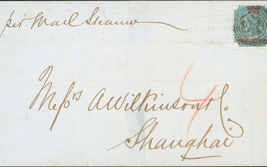 Straits Settlements Covers and Cancellations 1867 (12 Oct.) entire from Singapore to Shanghai,...