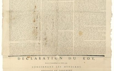 """THE BEGGARS. 1751. """"Declaration of the King, concerning the MENDICANTS"""" given at CHANTILLY (60) on July 18, 1724. Declaration of the King given to FONTAINEBLEAU (77) on October 20, 1750. Order of the ESCALOPIER Intendant of the Generality of MONTAUBAN..."""
