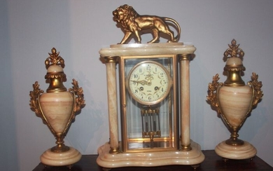 Tabletop clock - Brass, Bronze (gilt/silvered/patinated/cold painted), Marble - Early 20th century