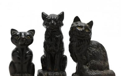 Three Vintage Black Cat Doorstops