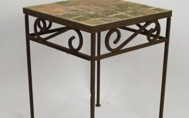 Tile & Wrought Iron Patio or Garden Table