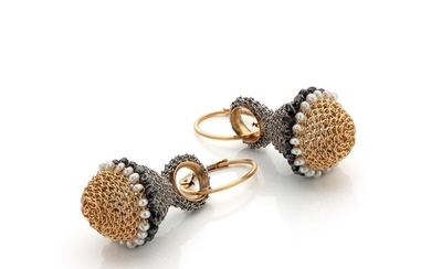 Tove Rygg - 18 kt. Gold-filled, Steel, Yellow gold, Black diamonds - Earrings