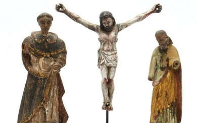 Two Antique Carved Santos and Crucified Christ