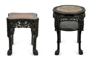Two Chinese Carved Hardwood Marble Inset Top Tables