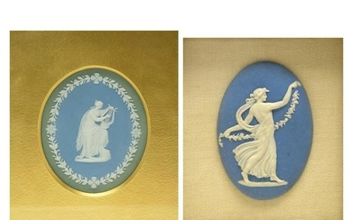 Two Wedgwood Oval Plaques each with Applied Female