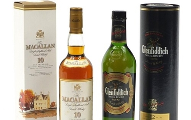 Two bottles of whiskey with boxes, comprising Glenfiddich Sp...