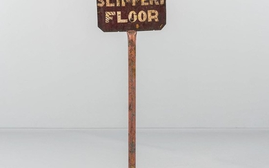 "Two-sided Painted Tin ""Slippery Floor"" Sign"