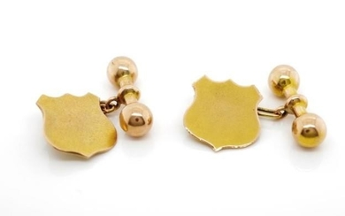 Two tone 9ct gold cufflinks with plain yellow gold renaissan...