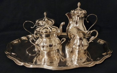 Venetian style tea and coffee service (5) - .800 silver - Italy - Second half 20th century