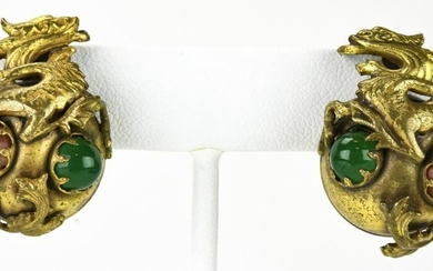 Vintage Costume Jewelry Chinese Dragon Earrings