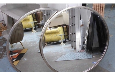 WALL MIRRORS, a pair, 1960's French style, silvered frames, ...