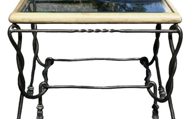 WROUGHT IRON AND BEVELED GLASS MODERN END TABLE