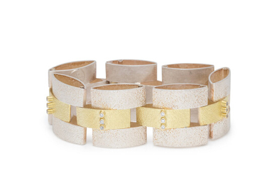YELLOW GOLD, STERLING SILVER AND DIAMOND BRACELET