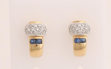 Yellow gold half creoles, 585/000, with diamond and