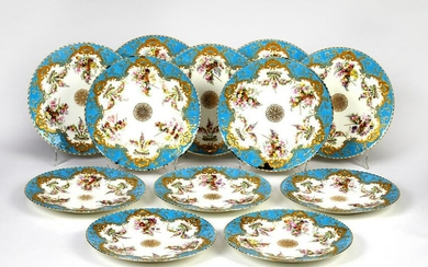 (12) Copeland hand painted porcelain plates, 19th c.