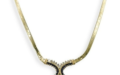 14K Gold Sapphire and Diamond Necklace