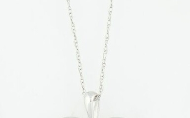 14K White Gold Heart Pendant, the pierced heart with a