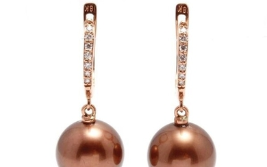 18 kt. Rose Gold - 10x11mm Special Chocolate Tahitian