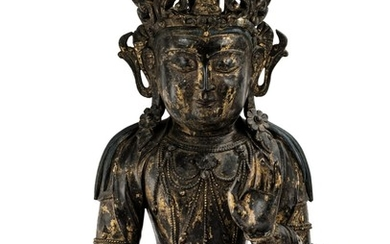 A LARGE GILT-LACQUERED BRONZE FIGURE OF AVALOKITESHVARA MING DYNASTY, 15TH/16TH CENTURY | 明十五/十六世紀 漆金銅觀音菩薩坐像