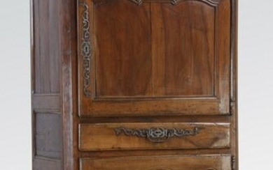 "18th c. French walnut bonnetiere, 81""h"