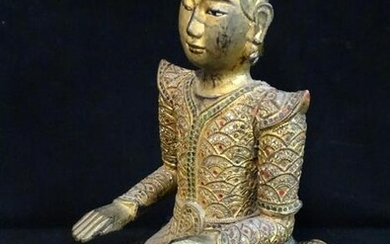 "19TH C. GILT WOOD BUDDHA INSET WITH JEWELS 18.5""H"