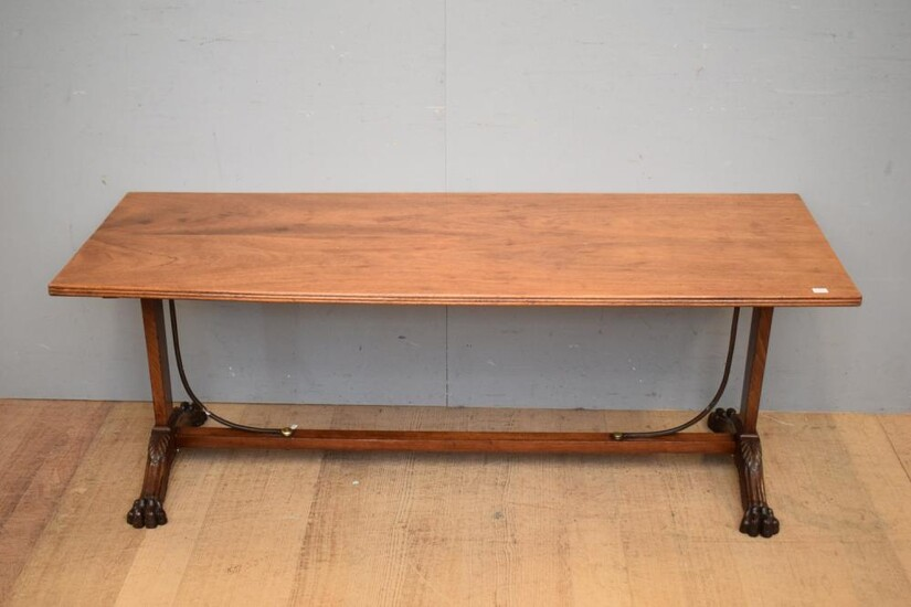 19TH CENTURY ENGLISH REGENCY PERIOD STYLE LOW LINE COFFEE TABLE, C.1940'S (H55 X W149 X D55 CM) (LEONARD JOEL DELIVERY SIZE: LARGE)