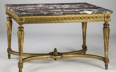 19th c. French gilt wood marble top console table
