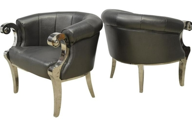 2) CONTEMPORARY BARREL-BACK FAUX LEATHER ARMCHAIRS
