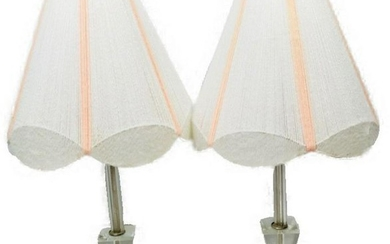 2 Mid-Century Lucite Lamp String Shade