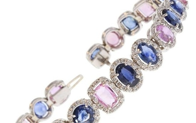 20.81 Carat Total Natural Blue and Pink Sapphire