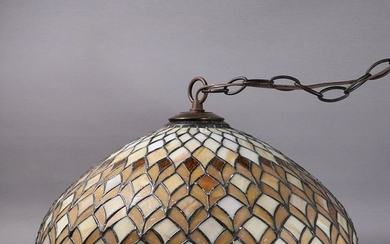 20th C. Leaded Glass Hanging Dome Chandelier