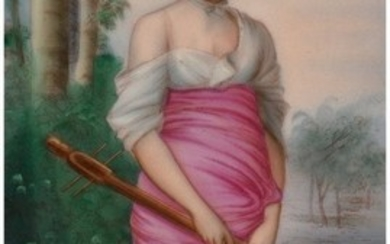 28082: A KPM Painted Porcelain Plaque in Giltwood Frame
