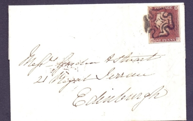 GREAT BRITAIN POSTAL HISTORY : 1841 1d Red Brown plate 11 (H...