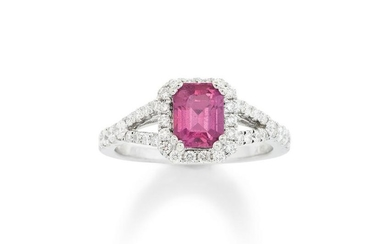 A Pink Sapphire and White Gold Ring