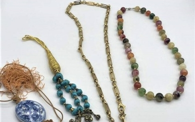 4 Assorted : 3 Necklaces Color Beads , Versace, Tassel