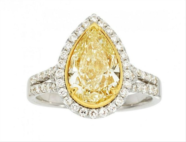 4.03Ct Yellow Pear Shaped Diamond Engagement Ring