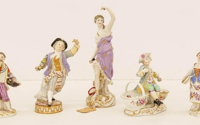 5pc Meissen 19th Cent. Porcelain Figurines 5'' to 9''