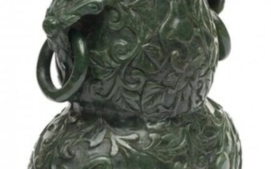 61082: A Chinese Spinach Jade Two-Handled Urn on Wood B