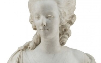 61082: A Marble Bust of Marie Antoinette 27 x 19-1/2 x