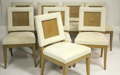 8 Mid Century Stained Oak Dining Chairs, c.1950