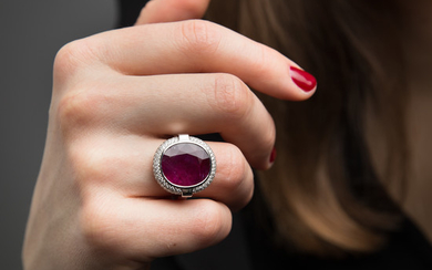 A 10,48 carat ruby, diamond and gold ring....