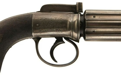 A 120-BORE SIX-SHOT PERCUSSION PEPPERBOX REVOLVER BY
