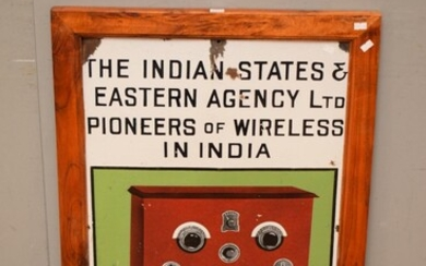 A 1900S WOODEN FRAMED INDIAN STATES WIRELESS RADIO ENAMEL SIGN (85H x 59W CM)(DELIVERY SIZE: MEDIUM)