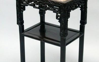 A 19TH CENTURY CHINESE HARDWOOD MARBLE TOP TWO TIER