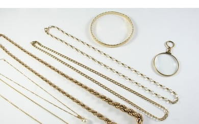 A 9CT GOLD ROPE LINK NECKLACE 53cm long, 14.7 grams, a 9ct g...