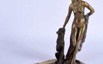 A COLD PAINTED CONTINENTAL BRONZE FIGURE. 18 cm x 14