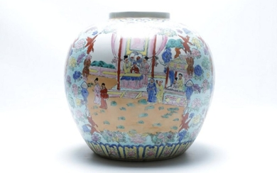 A Ceramic Chinese Jardinier with Character and Flower Scene (H 30cm)