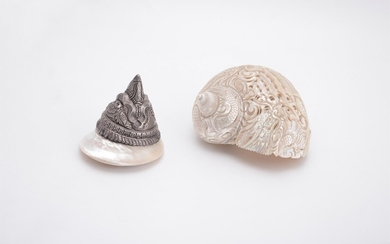 Y A Chinese 'Dragon' carved lustrous shell