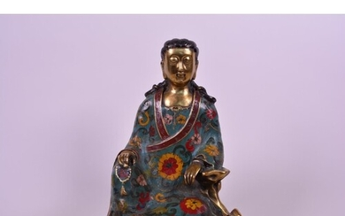 A Chinese bronze and cloisonné enamel Buddha, 6 character ma...